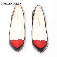 LOSLANDIFEN New Women Pumps Red Heart Sexy High Heels Ladies Shoes Sexy fine with Pointed Toe Stiletto Love Femma Chaussure35-42