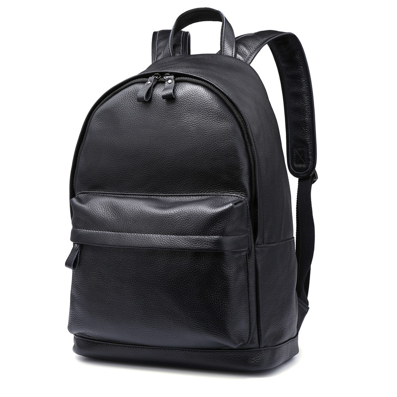 Nesitu High Quality Big Black Brown Real Skin Genuine Leather 14 Laptop Women Men Backpacks Cowhide