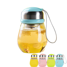 400 ml Penguin cup with Tea Infuser & Rope creative water bottle infuser fashion high silica glass bulb garrafa