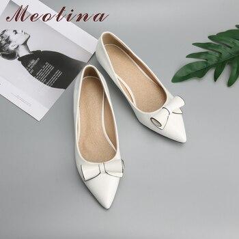 eceb2354 Meotina zapatos de mujer arco tacón bajo señoras cuña tacones zapatos de  novia de calzado de cuero de mujer rojo blanco Plus tamaño 9 10 42 43