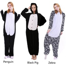5e4be7b583d Adult Halloween Cosplay Animal Pajamas Warm Lovely Costume Cartoon Sleepwear  Homeear Flannel Unisex Zebra Black Pig
