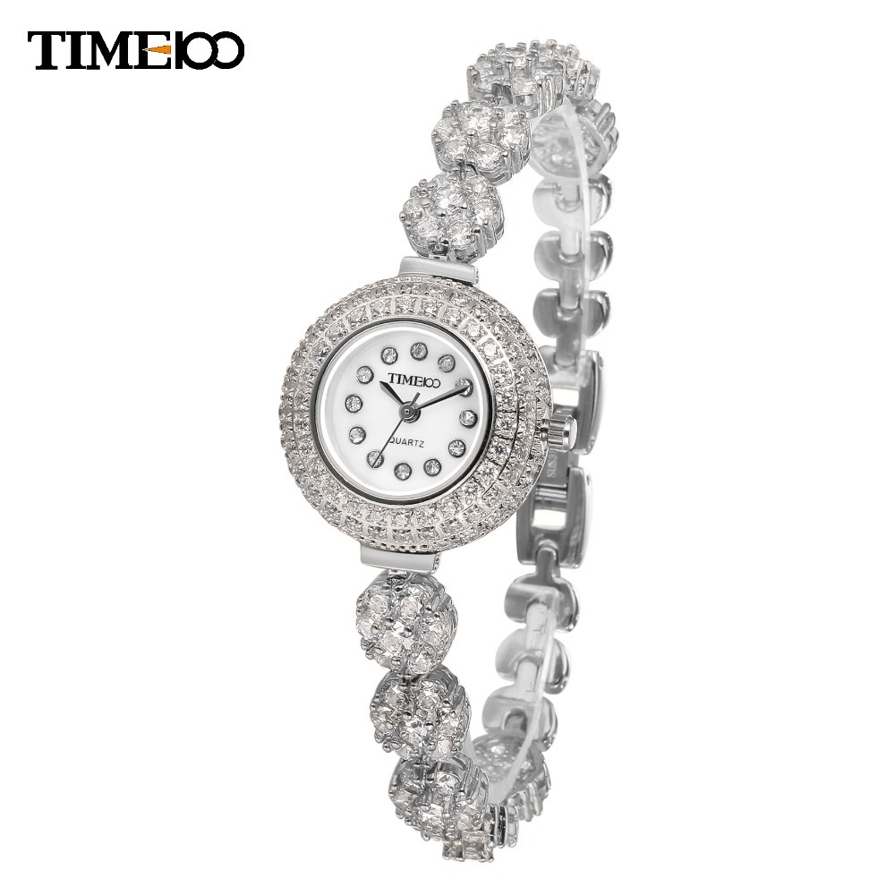 TIME100 Luxury Unique Ladies Alloy Strap Bracelet Watches Diamond Dial Quartz Women Dress Wrist Watch For Women W50343L.01A