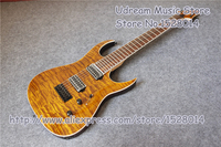 Wholesale China OEM Brown Quilted Finish 7 String Suneye Jackson Electric Guitar 24 Frets Rosewood Guitar