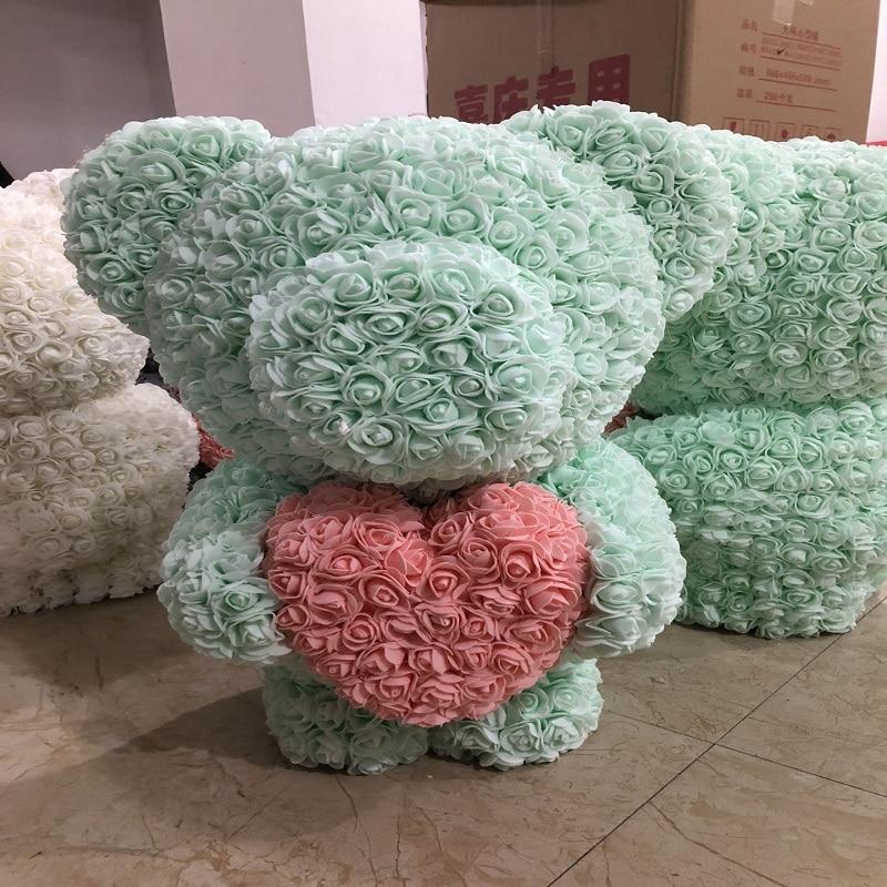 53 CM high Rose bear Valentines Gift preserved fresh flower romance artificial rose toy of flower Women's Gift flower bear