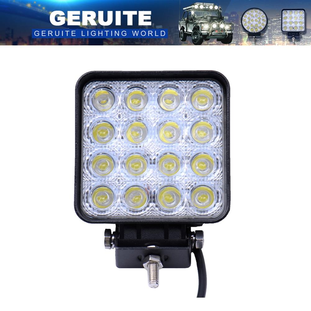 GERUITE 48W LED Spotlight Square Car Lights For Truck SUV Båt Jakt Fiske IP67 Vanntett Arbeid Lys Biler LED Spotlights