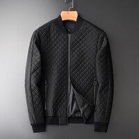 Minglu Parka Men Luxury Black Rhombus Stitching Stand Collar Winter Jacket Men Hight Quality Slim Fit Casual Man Winter Coats