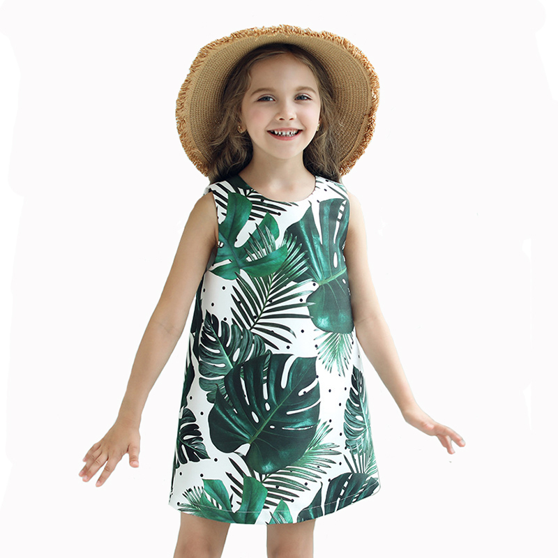 Autumn Girls Dress Kids Vest Vestido Children Sleeveless Banana Leaves Print A-line Party Clothing for 3y-8y sweet round collar flower and leaves print sleeveless dress for women
