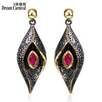 DreamCarnival1989 Hanging Flower Drop Earrings for Women Party Jewelry Black Gold Color Red Fuchsia CZ Brincos Pendientes SE3321
