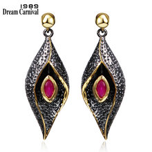 DC1989 Red Evil eyes Long Drop earrings Black Gold Plated Red Bezel setting Cubic Zirconia Brass Lead free earrings (SE3321)(China)