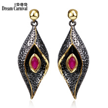 DC1989 Red Evil eyes Long Drop earrings Black Gold Plated Red Bezel setting Cubic Zirconia Brass Lead free earrings (SE3321) намагничиватель для отверток и бит fit