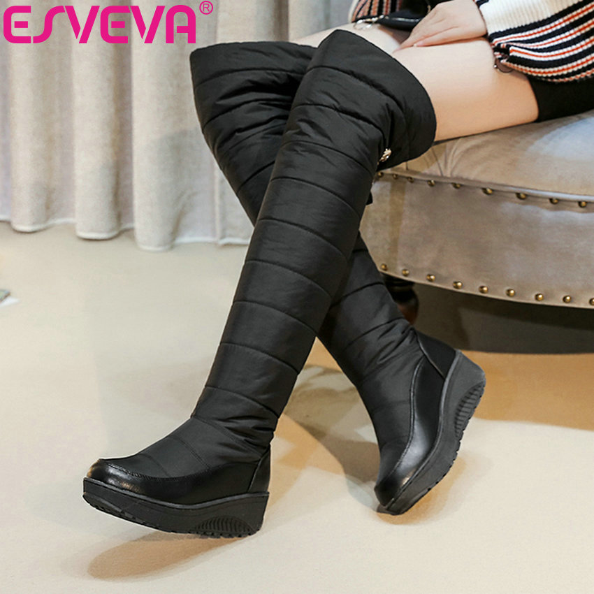ESVEVA 2019 Wedges Heels Women Shoes Solid Round Toe Snow Boots Winter Boots Shoes Warm Med Heels Over The Knee Boots Size 35-43 esveva 2019 women shoes mid calf boots round toe med heels winter boots short plush slip on height increasing snow boots 34 43