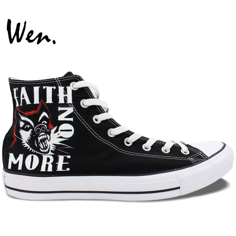 ФОТО Wen Black Hand Painted Shoes Design Custom Faith NO More Black High Top Canvas Sneakers for Men Women's Gifts