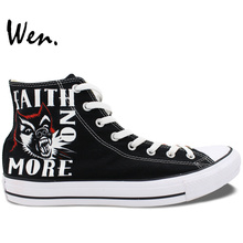 Wen Black Hand Painted Shoes Design Custom Faith NO More Black High Top Canvas Sneakers for Men Women's Gifts