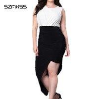 Cộng với kích thước dresses xxl vintage 2017 phụ nữ mùa hè dress tay vòng cổ irregular hem màu đen và trắng đảng maxi vestidos