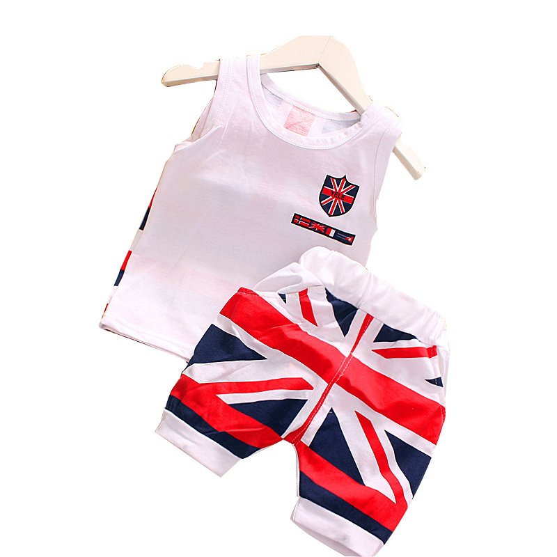 2015 summer style kids clothes cotton British style flag design baby boy/girls clothes Vest+ Shorts 2 pcs clothing set 1-4 year baby girls summer clothing girls july 4th anchored in god s word shorts clothes kids anchor clothing with accessories