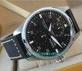 47mm parnis 47mm grande mostrador preto automático mecânica auto-vento relógio dos homens movimento mecânico pulseira de couro relógios