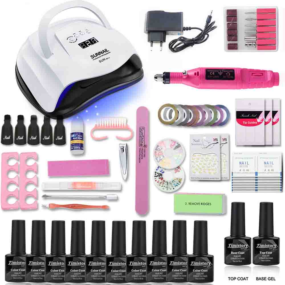 Nail set 80/54/36W UV Led Lamp set With Electric Nail drill machine manicure tools 10 colors Nail gel polish 1 base 1 top kitNail set 80/54/36W UV Led Lamp set With Electric Nail drill machine manicure tools 10 colors Nail gel polish 1 base 1 top kit
