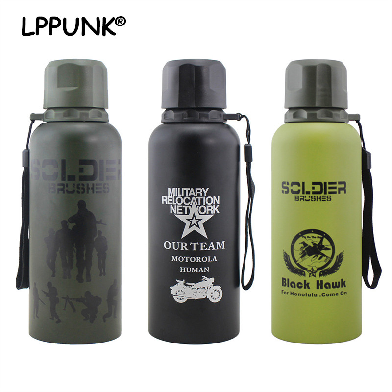 Bpa Free Cup Bottle Outdoor Military Flasks Vacuum Thermos Mug Insulated Sports Portable Rope Coffee Water Camouflage c31J5uTFlK