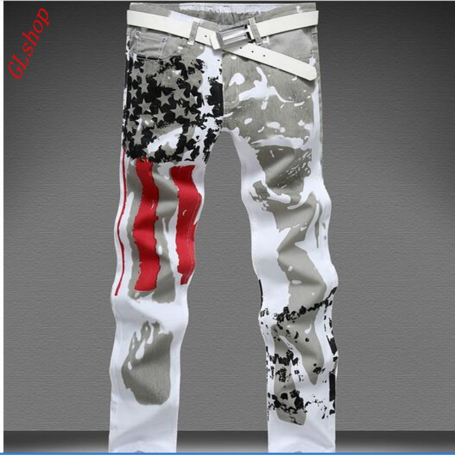 ФОТО New Spring Fashion mens jeans size 28-48 Mens American printed Flag Fashion Slim-fit Jeans Pants Strech Jeans Plus Size Free