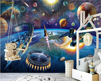beibehang Custom wallpaper mural modern hand-painted cartoon space spaceship children's room mural background wall 3D wallpaper custom 3d mural children room wallpaper bedroom background wall mural cartoon candy cake shop wallpaper mural
