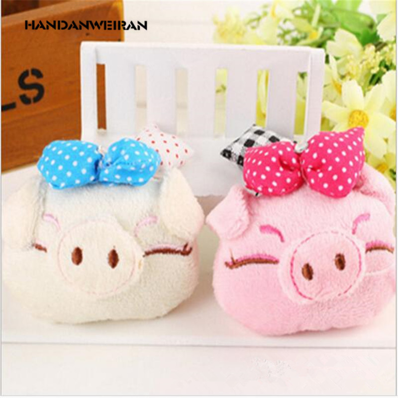 2019 NEW 1PCS 8CM super cute  bowknot pig plush toys For girl mini Animal stuffed soft pendant couple wedding gifts HANDANWEIRAN