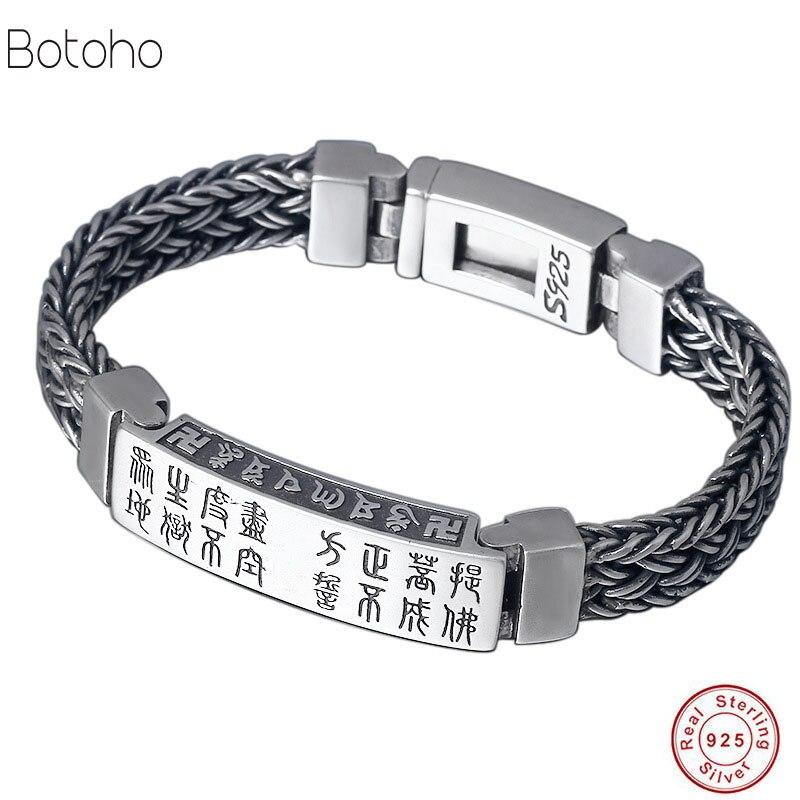 925 Bracelet argent sterling hommes Vintage punk rock fil chaîne chaîne et bracelet Thai argent bijoux charme hommes bracelets 2018