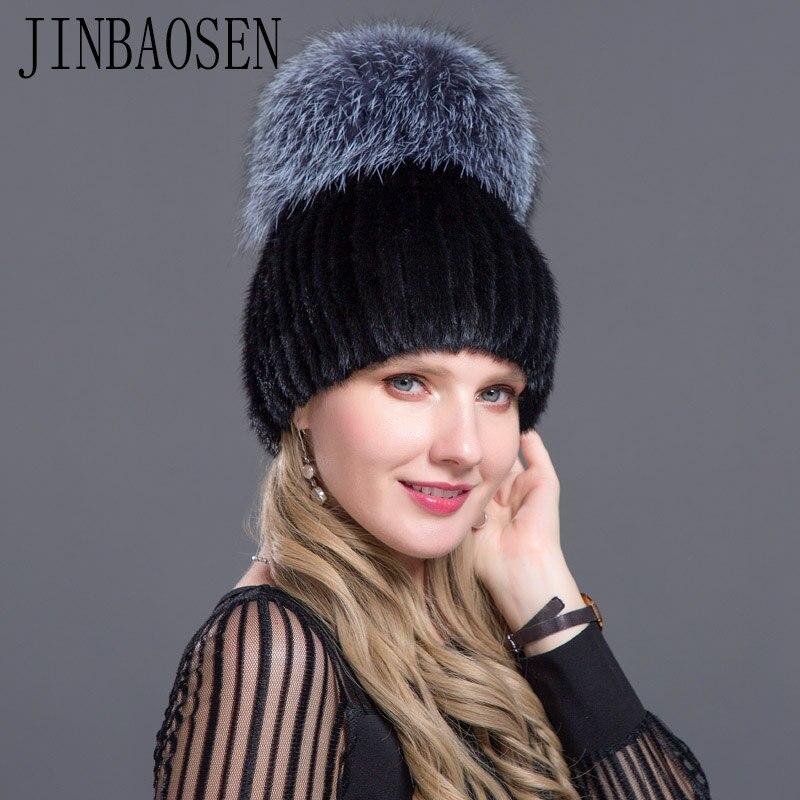 JINBAOSEN 2018 Russian ski hat mink fur cap mink fox combined with fur fashion hat knitted