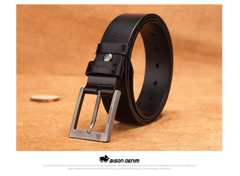 BISON DENIM Marrón Cinturón balck hombres Prom accesorios vestido de ... 0a64e07df533