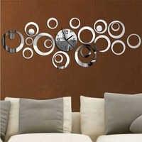 2017 Nuevo Reloj De Pared De cuarzo diseño moderno Reloj De Pared grandes relojes decorativos 3d Diy espejo acrílico sala De estar envío gratis