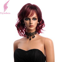 Yiyaobess Synthetic Hair 12inch Mix Wine Red Wig Woman Short Wavy Wigs With Bangs Japanese Fiber