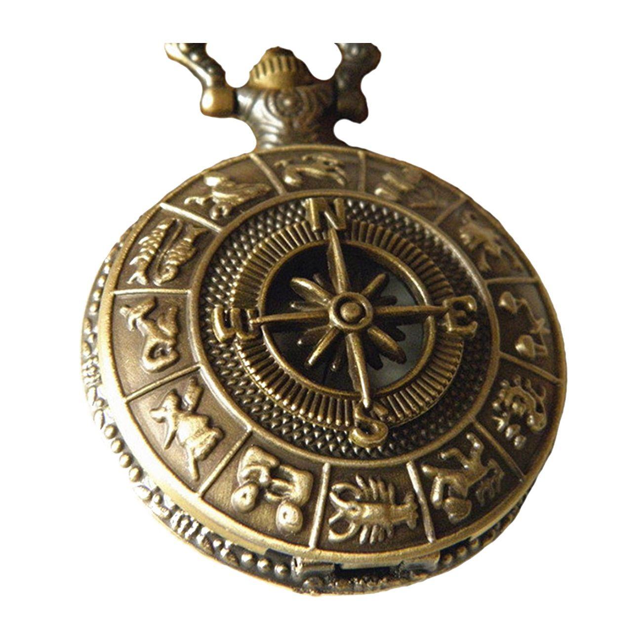 Vintage Brass Pocket Watch with Compass Necklace Twelve Constellation Navigation Necklace Pocket Watch vintage eagle pattern water resistant quartz pocket watch with chains antique brass 1 x 377