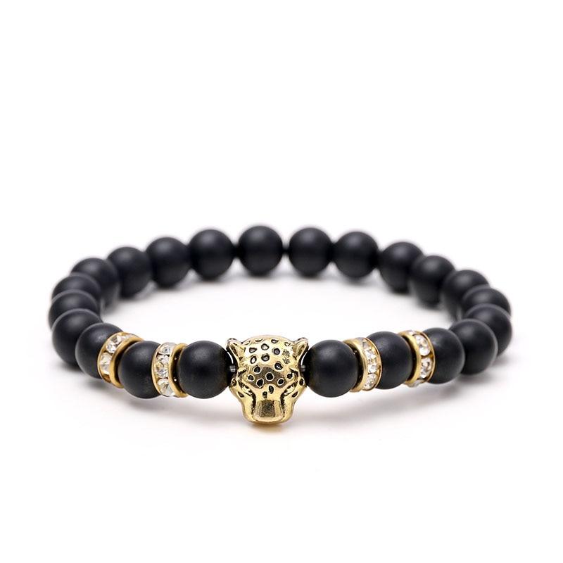 Регулируемая золото Из Природного Камня Бусы браслеты для женщин, золото leopard глава Браслет Energy Yoga Мала bracciale uomo