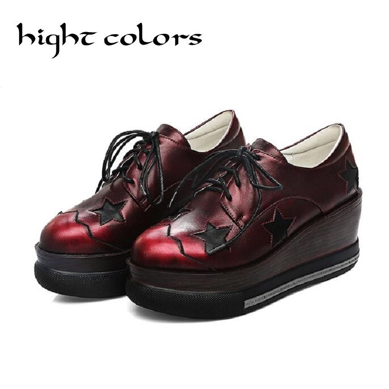 ФОТО Preppy Fashion Girls Wedge Heels Lace Up Oxford Womens High Heels Platform Shoes Patent Leather Creepers Derby Shoes Size 34-42