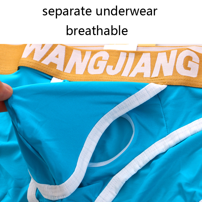 Open Front Sexy Men Underwear Big Penis Hole Mens Briefs Low Waist Wangjiang Underpants Pouch Ice Silk Panties Breathable Hot