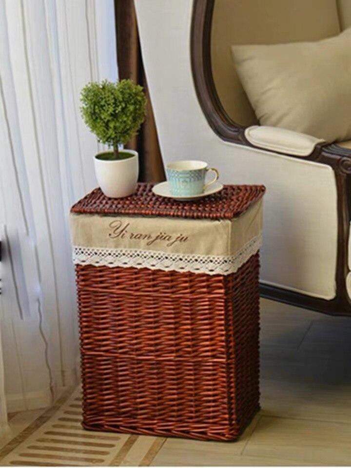 Rotin panier boîte de rangement avec couvercle pour vêtements sales tissé saule paniers ménage panier à linge boîte sale vêtements en osier Bin