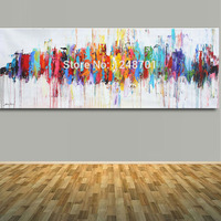 Modern Abstract Art Oil Painting Red Blue Yellow Blue Brown Turquoise Wall Art For Home Wall