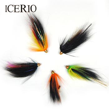 ICERIO 5PCS Copper Conehead Tube Fly Fishing Flies Saltwater Salmon Trout Fishing Lure image