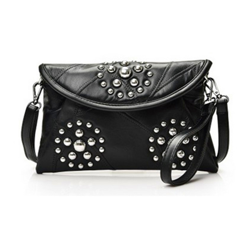 84db42bec16 Aliexpress.com   Buy 2018Hot Sale Two Zipper New Leather Satchel Bag Chain  Ladies Lambskin Rivets Handbags Wholesale And Retail Free Shipping B003  from ...