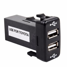 Especial Dedicado cargador de Coche 5 V 2.1A Interfaz USB Socket Coche Dashboard Mount Teléfono Toma de Entrada de Uso Color Negro para Toyota