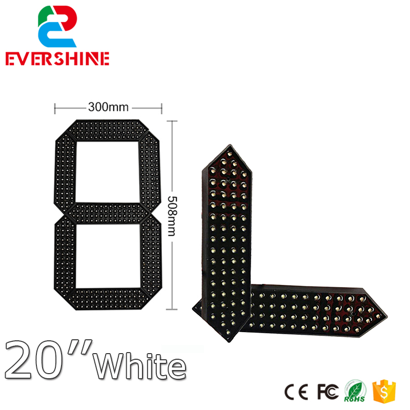 купить high brightness 12000mcd led display module 7 Segment gas price digital Module 20'' white color led display по цене 3127.89 рублей