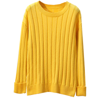 5xl Casual Harajuku Loose Top Femme Truien Dames Jumpers Ladies Yellow Black Loose Knit Warm Women Fall Pullover Ribbed Sweater