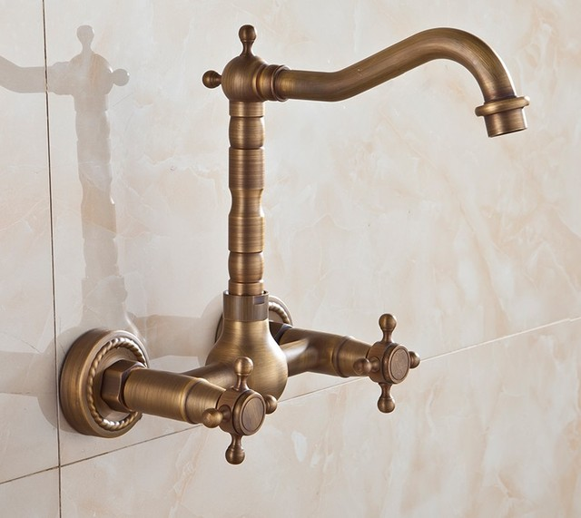 360 Degree Rotating Faucets Antique Br Bathroom Taps Bath Mixer Fashion Vintage Dual Handle Hot