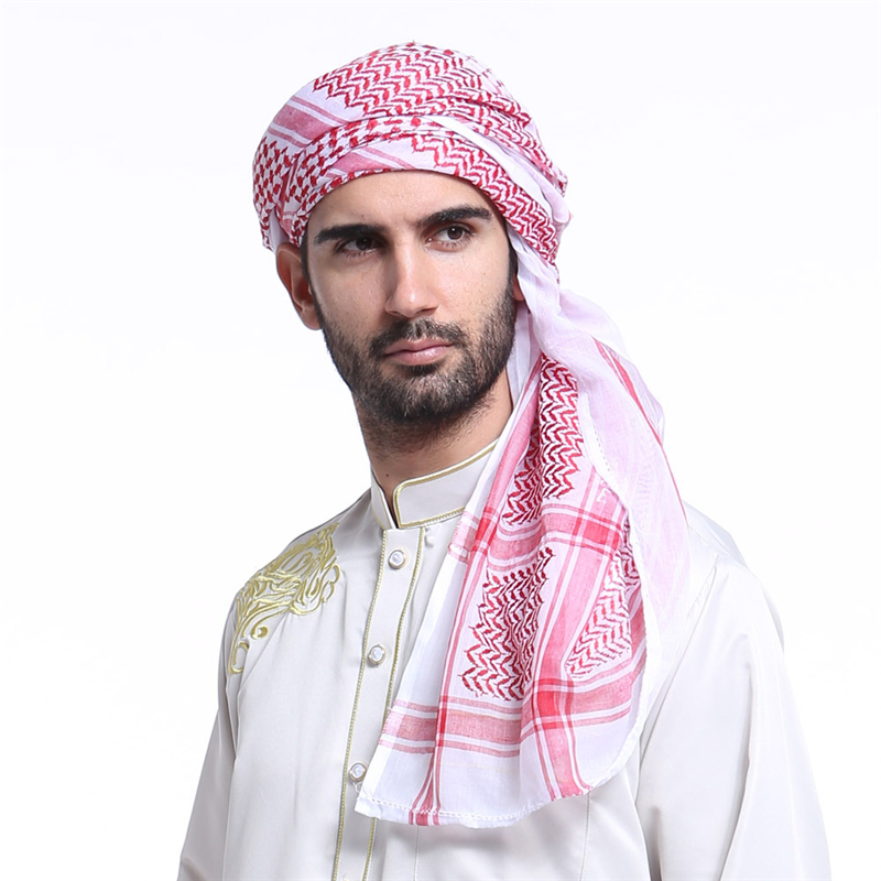 Vintage Jacquard Polyester Men Square Scarf Saudi Arabian Muslim Head Wrap Red Black White Thin Spring Summer Hijab Scarfs