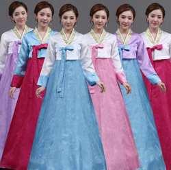 Лидер продаж, корейский этнический ханбок, женские традиционные костюмы для выступлений, сладкий ханбок, набор, дворец, Корея, Свадебный