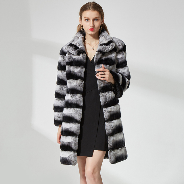 Chinchilla color fur coat long sleeve stand collar Thick Rabbit Fur Overcoat Clothing for women