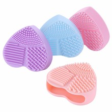 Makeup Brush Cleansing Pad Cosmetic Silicone Cleaning Brush Pad Heart Shape Brush Cleanser Brush Egg