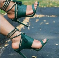 Summer fashion lace up Woman green sandals metal chains decor Sexy Pumps tassel design thin heel female dress shoes