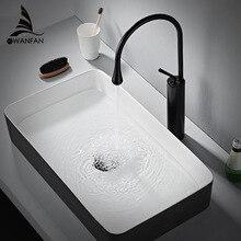 Смеситель для раковины, современный белый кран для ванной комнаты, водопад, кран с одним отверстием для холодной и горячей воды, кран для раковины, смеситель, краны 88096