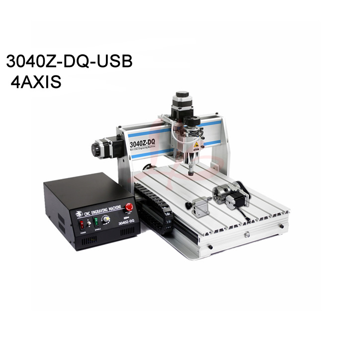 High quality 4axis cnc milling machine 3040 usb port cnc cutting rotuer mach3 work area 285*380*55mm high steady cost effective wood cutting mini cnc machine milling