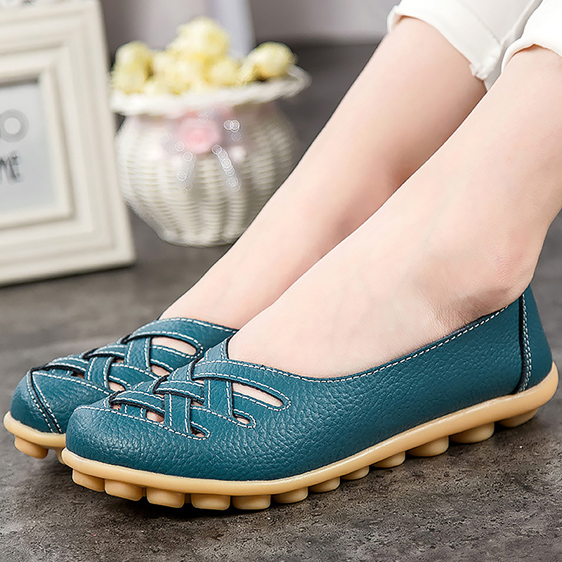 nabeimei Leather Flat Oxford shoes women loafers